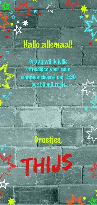 Communie stoere uitnodiging met een muur en sterren Achterkant