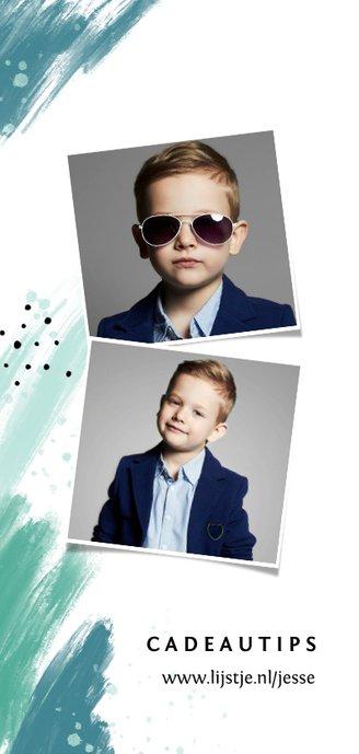 Communie uitnodiging jongen verf spetters foto mint 2