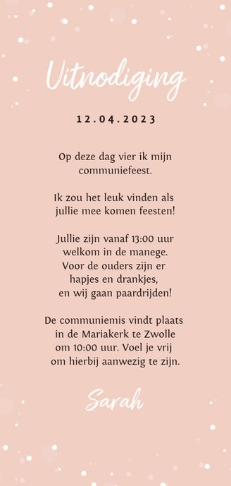 Communie uitnodiging thema paard roze Achterkant
