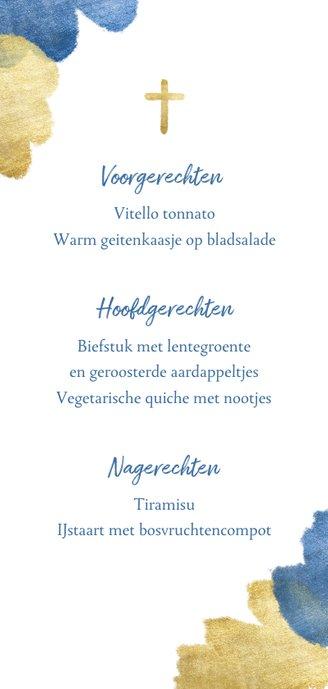 Communiekaart menu blauw aquarel metallic Achterkant