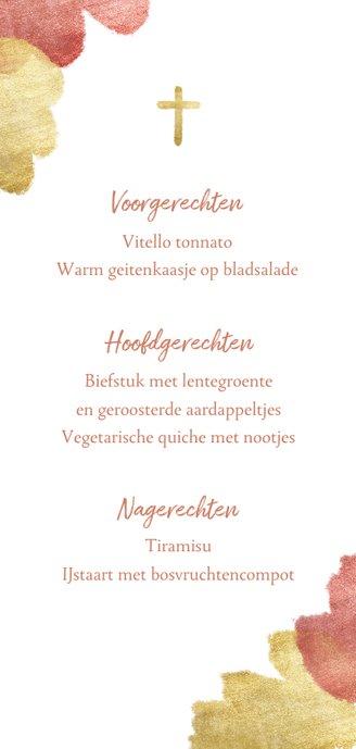 Communiekaart menu roze aquarel metallic Achterkant