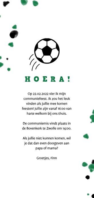 Communiekaart voetbal met foto en spetters Achterkant