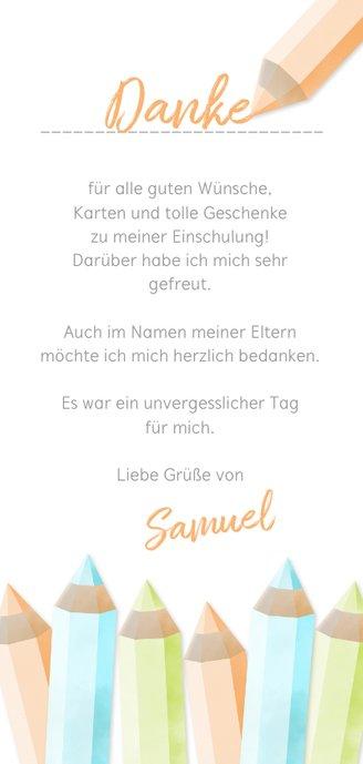 Dankeskarte Einschulung orange Buntstifte und eigenes Foto Rückseite