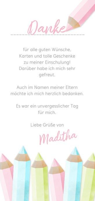 Dankeskarte Einschulung rosa Buntstifte und eigenes Foto Rückseite