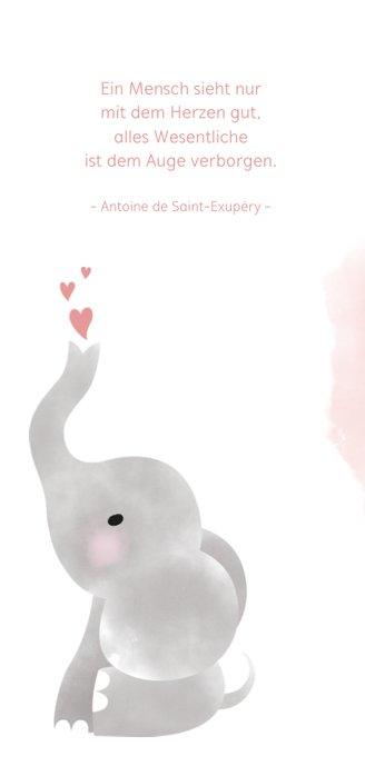 Dankeskarte Geburt rosa Foto & Elefant Wasserfarbe 2