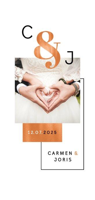 Dankeskarte Hochzeit Kupfer grafisch Fotocollage  2