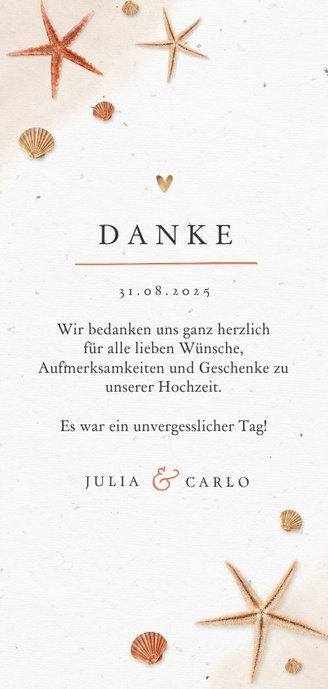 Dankeskarte Hochzeit mit eigenen Fotos, Seestern & Muscheln Rückseite