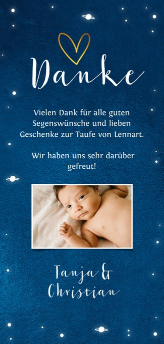 Dankeskarte Taufe Sternenhimmel Fotocollage  Rückseite