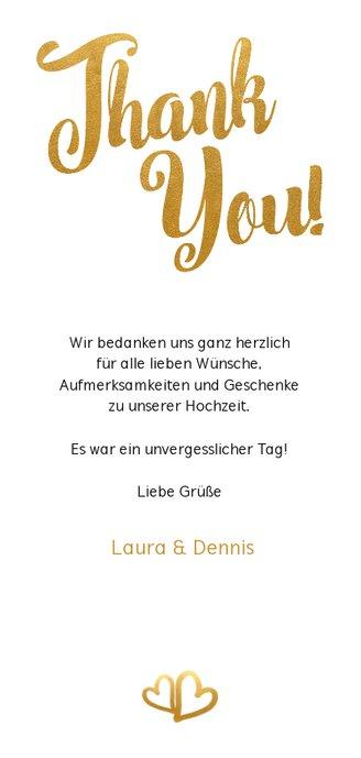 Dankeskarte zur Hochzeit Buchstaben in Goldlook Rückseite