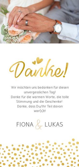 Dankeskarte zur Hochzeit in gold mit Fotocollage Rückseite