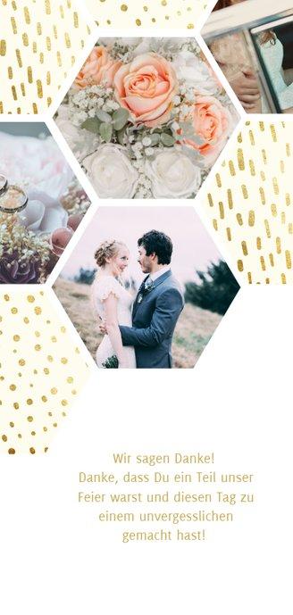 Dankeskarte zur Hochzeit mit Fotocollage im Goldlook Rückseite
