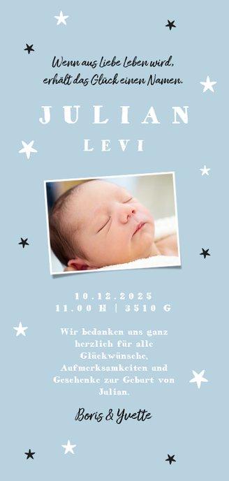 Danksagung Geburt Bär blau Foto Rückseite Rückseite