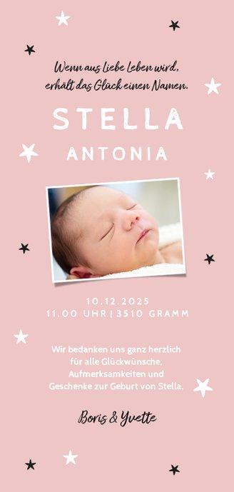 Danksagung Geburt Bär rosa Foto Rückseite Rückseite