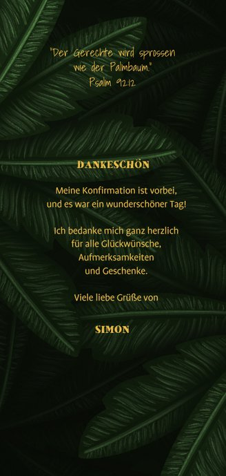 Danksagung Konfirmation Dschungel-Look mit Fotos Rückseite