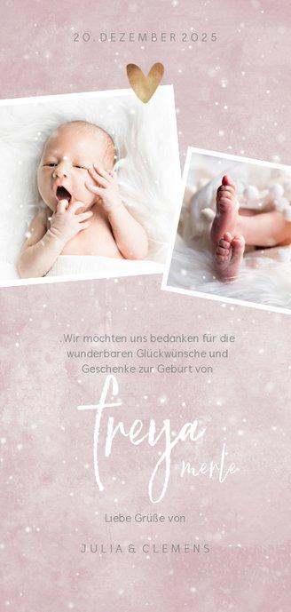 Danksagung zur Geburt rosa mit 4 Fotos Winterlook Rückseite