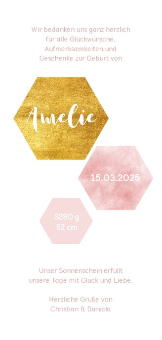 Danksagung zur Geburt Sechsecke rosa mit Foto Rückseite