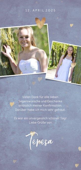 Danksagung zur Konfirmation Herzen & Fotocollage Rückseite