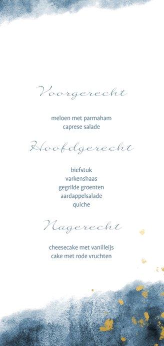Dinerkaart blauwe waterverf gouden spetters 3