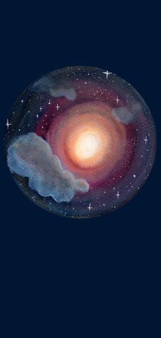 Doopkaart Gods lamp met beer op maan Achterkant