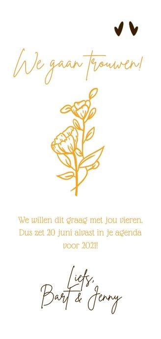 Eigentijdse save the date kaart voor bruiloft wilde bloemen Achterkant