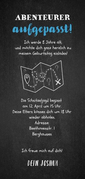 Einladung Kindergeburtstag blau Schnitzeljagd mit Foto Rückseite