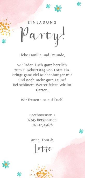 Einladung Kindergeburtstag Torte und Blumen Rückseite