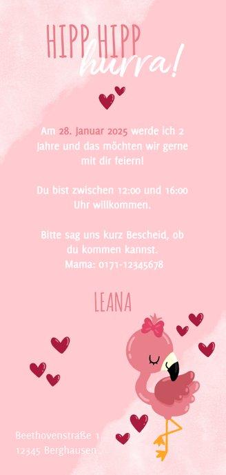 Einladung Kindergeburtstag Wasserfarbe, Flamingo und Herzen Rückseite