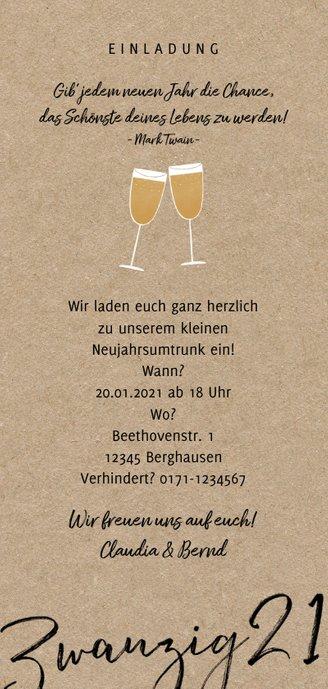 Einladung Neujahrsumtrunk Sektgläser Rückseite