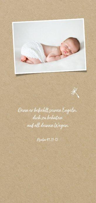 Einladung Taufe Junge Pusteblume Kraftpapier 2