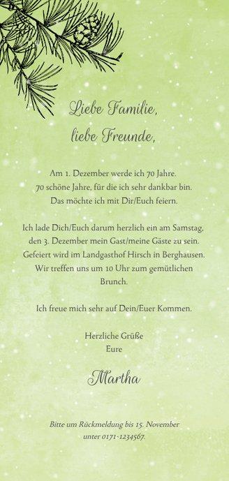 Einladung zum Geburtstag winterlicher Nadelbaum  Rückseite