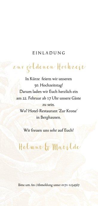 Einladung zum Hochzeitsjubiläum goldene Rose Rückseite