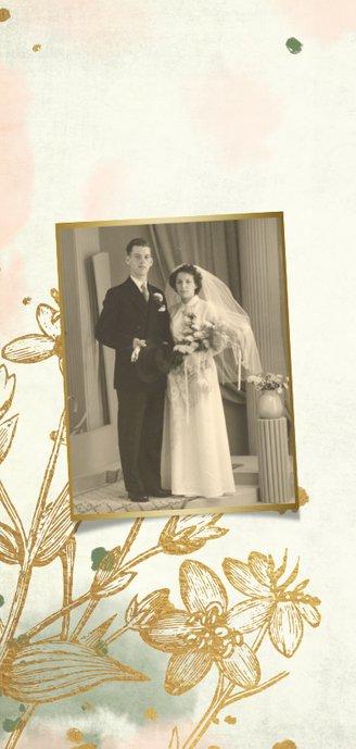 Einladung zum Hochzeitstag klassische Blumen Foto innen 2