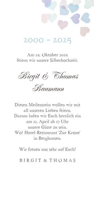 Einladung zum Hochzeitstag mit Herzchen-Konfetti 3