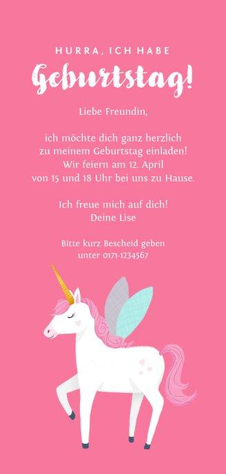 Einladung zum Kindergburtstag Foto und Einhorn rosa Rückseite