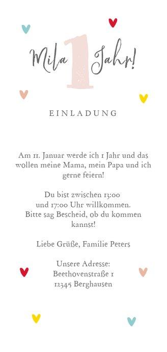 Einladung zum Kindergeburtstag bunte Herzchen & Foto Rückseite