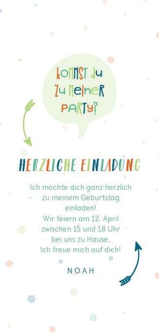 Einladung zum Kindergeburtstag fröhlich-blau Rückseite