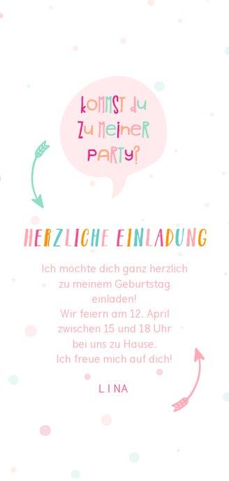 Einladung zum Kindergeburtstag fröhlich-rosa Rückseite