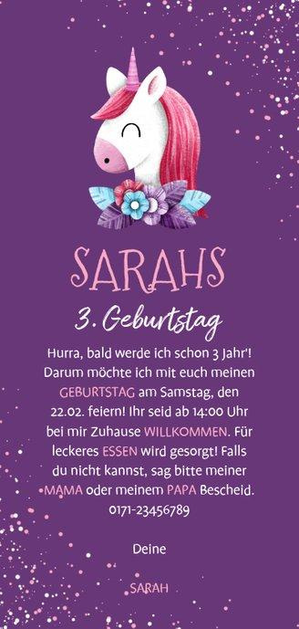 Einladung zum Kindergeburtstag lila Einhorn und Konfetti Rückseite
