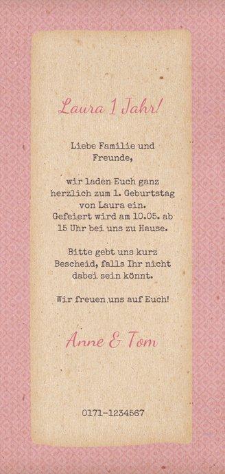Einladung zum Kindergeburtstag mit rosa Bulli Rückseite