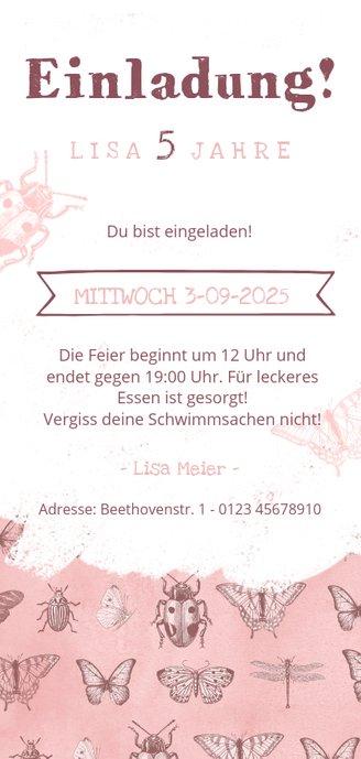 Einladung zum Kindergeburtstag rosa Insekten und Foto Rückseite