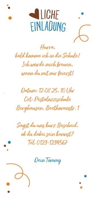 Einladung zur Einschulung eigenes Foto Schultüte blau Rückseite