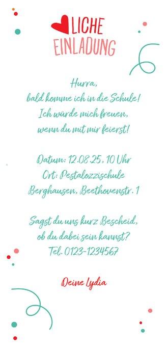 Einladung zur Einschulung Schultüte rosa & eigenes Foto Rückseite