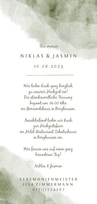 Einladung zur Hochzeit Aquarell & Zweige Rückseite