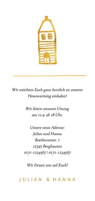 Einladung zur Housewarming mit goldenem Haus Rückseite
