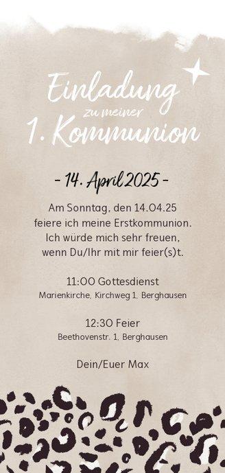 Einladung zur Kommunion Foto & Leopardenprint braun Rückseite