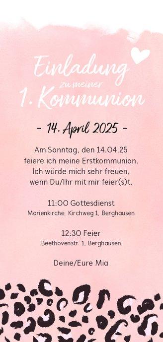 Einladung zur Kommunion Foto & rosa Leopardenprint Rückseite