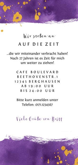 Einladung zur Party lila Farbe mit Foto Rückseite