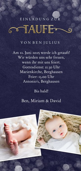 Einladung zur Taufe großes Foto dunkelblau Rückseite