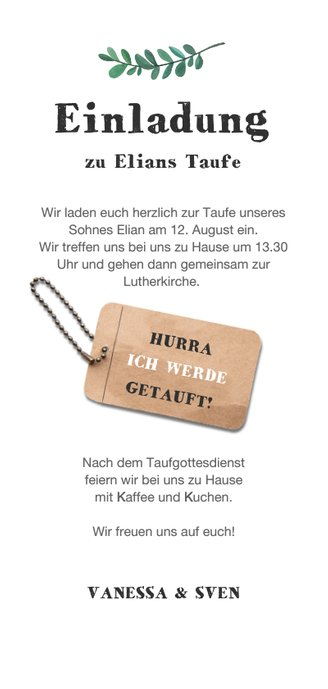 Einladung zur Taufe Holzlook mit Foto und Anhänger Rückseite