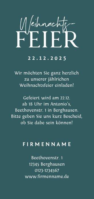 Einladung zur Weihnachtsfeier Tannenzweige Rückseite